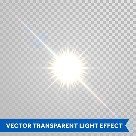 Ilustración de Vector magic sunlight glare effect. Sunshine sparks with lens flare radiant light. Bright glowing light flash isolated on transparent background - Imagen libre de derechos
