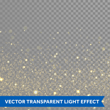 Illustration for Vector gold glitter particles background effect  for luxury greeting rich card. Sparkling glamour fashion texture. Star dust sparks in explosion on black background. - Royalty Free Image