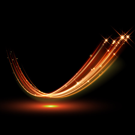 Illustration pour Vector magic glowing spark swirl trail trace effect on black background. Bokeh glitter fire wave line with flying sparkling flash lights. - image libre de droit