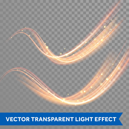 Ilustración de Vector magic glowing spark swirl trail trace effect on transparent background. Bokeh glitter wave line with flying sparkling flash lights. - Imagen libre de derechos