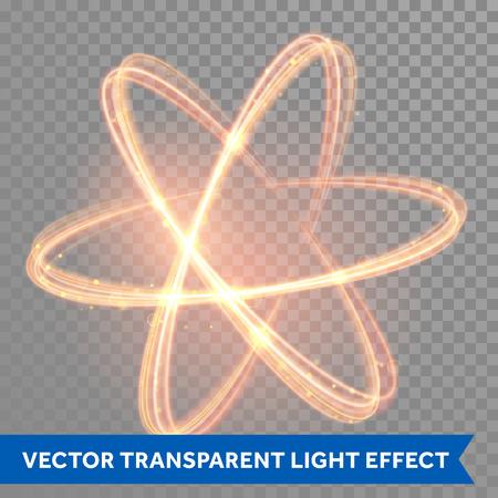 Ilustración de Vector magic glowing light swirl trail trace effect on transparent background. Bokeh glitter fire spark spiral wave line with flying sparkling flash lights. Atom form. - Imagen libre de derechos