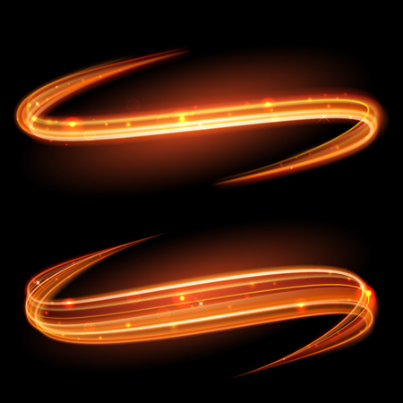 Ilustración de Vector magic glowing light swirl trail trace effect on black background. Bokeh glitter fire spark spiral wave line with flying sparkling flash lights. - Imagen libre de derechos