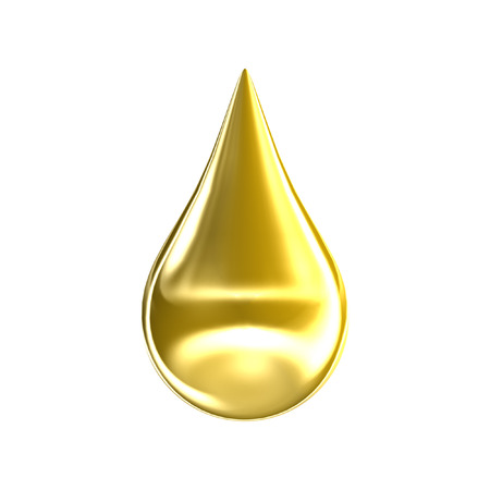 Foto de Gold oil drop isolated on white background. 3D golden argan essence drip icon. - Imagen libre de derechos