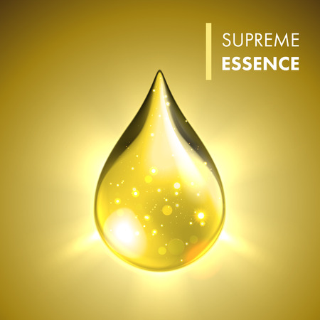 Ilustración de Vector oil drop. Supreme collagen essence. Premium gold shining serum droplet. - Imagen libre de derechos