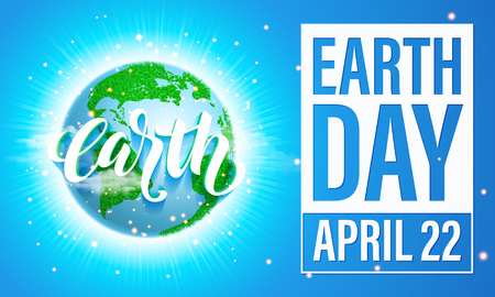 Illustration pour Earth Day poster with title. Vector lettering illustration of green globe planet with grass, sun light and blue sky. Save environment green concept. - image libre de droit
