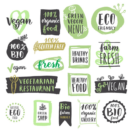Illustration pour Fresh healthy organic vegan food labels and tags.  illustration. Vegetarian eco green concept - image libre de droit