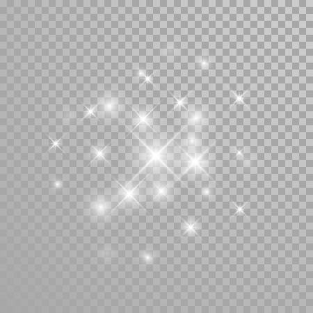 Ilustración de Vector diamond glitter splatter. Star light particles sparkles. Twinkling sparks lights. Transparent background. - Imagen libre de derechos