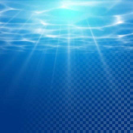 Ilustración de Vector water texture wallpaper on transparent background. Sun light beams reflection. Underwater light diffraction. Water texture illustration with sunlight. - Imagen libre de derechos