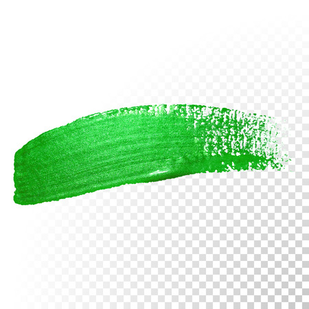 Ilustración de Vector green watercolor glitter brush stroke. Polish splash line trace. Abstract shape green oil paint smear dab on transparent background. - Imagen libre de derechos