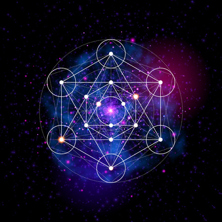 Illustration pour Sacred geometry abstract vector illustration. Flower of life symbol. Metatrons Cube. Neon space glowing background. - image libre de droit