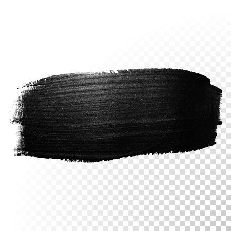 Illustration pour Ink black watercolor brush stroke. Polish splash line trace. Abstract shape oil tar paint smear dab on transparent background. - image libre de droit