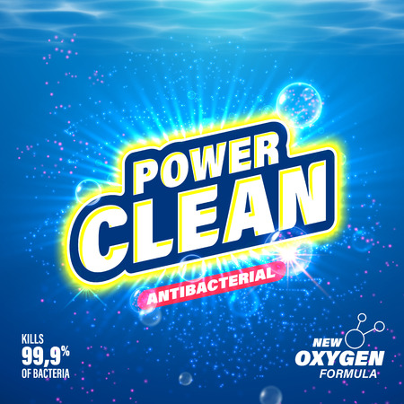 Illustration for Laundry detergent package design. Toilet and bathroom tub cleanser. Washing machine soap powder vector packaging template. Power Clean with oxygen acitve substance - Royalty Free Image