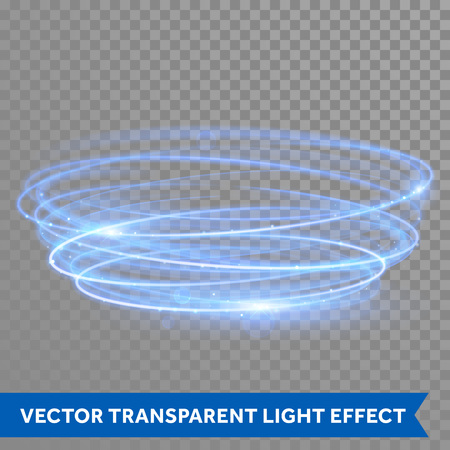Illustration for Vector blue circle light with tracing effect. Glowing magic neon fire ring trace. Glitter sparkle swirl trail on transparent christmas background. Glitter round ellipse line of sparkling flash lights - Royalty Free Image