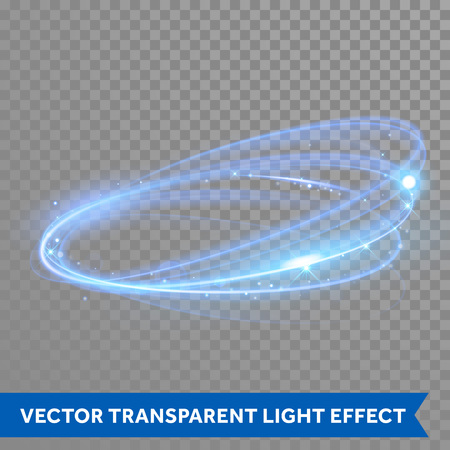 Ilustración de Vector neon light circle in motion. Glowing blue ring trace. Glitter magic sparkle swirl trail effect on transparent background. Bokeh glitter round wave line with flying sparkling flash lights - Imagen libre de derechos