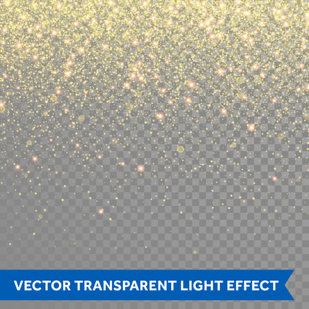 Ilustración de Vector gold glitter particles background effect for luxury greeting rich card. Sparkling texture. Star dust sparks in explosion on transparent background. - Imagen libre de derechos