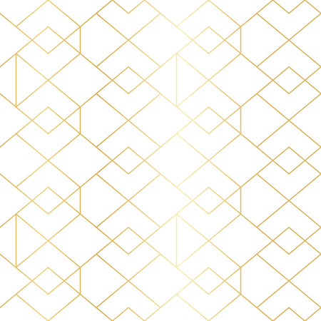 Illustration pour Seamless gold geometric pattern with line rhombus. Golden modern abstract geometric pattern on white background - image libre de droit