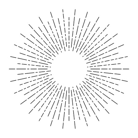 Illustration for Burst of sun rays in hipster line style. Vector graphic lines of sun beams.Sun stylized geometrical pencil sketch ornament linear drawing for tattoo, decoration design element - Royalty Free Image