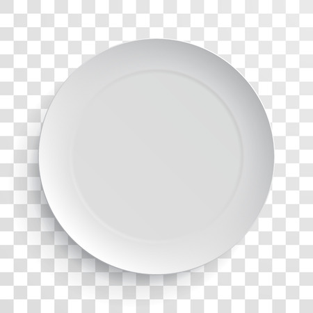 Illustration pour Empty white dish plate isolated 3d mockup model. Vector round porcelain, ceramic dinner plate. Illustration on transparent background - image libre de droit