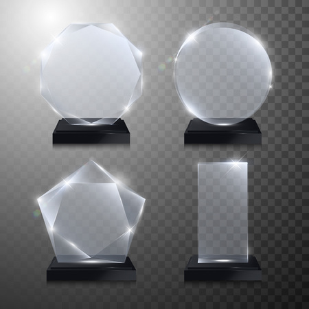Illustration for Glass trophy awards set. Vector crystal 3D transparent award mockup with pedestal on gray background. Glass acrylic prize round circle model for engraving. Round circle, square, octagonal, star shape - Royalty Free Image
