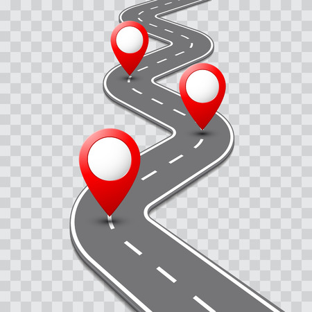 Illustration pour Vector pathway road map with route with location pin icon on the way track. Roadmap direction navigation map GPS template design - image libre de droit