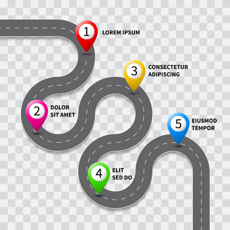 Illustration pour Vector pathway road map with route with location pin icon on the way track. Roadmap direction navigation map GPS infographic leaflet template design - image libre de droit