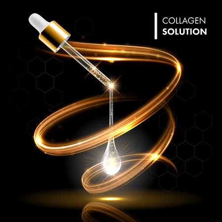 Illustration pour Gold oil serum collagen droplet cosmetic treatment. Face skin care moisturizing concept. Premium shining enzyme droplet. - image libre de droit