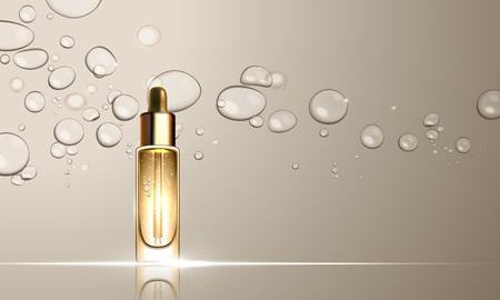 Illustration pour 3D dropper bottle of collagen hydration moisturizer. Face skin care premium ad design template. Gold water, oil drops background. Vector illustration - image libre de droit