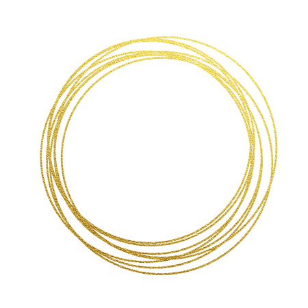 Illustrazione per golden circles and rings. Decoration design element of gold foil gilding texture. Festive background for New Year and Christmas cards ornaments. Sparkling twirl design elements for interior decoration - Immagini Royalty Free