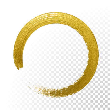 Illustration pour Gold glitter circle with vector golden paint brush texture on vector transparent background. Round paint smear or rough ring stamp for premium festive card or poster design - image libre de droit