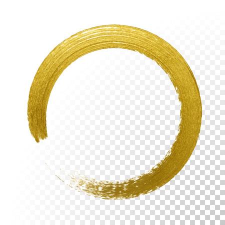 Ilustración de Gold glitter circle with vector golden paint brush texture on vector transparent background. Round paint smear or rough ring stamp for premium festive card or poster design - Imagen libre de derechos