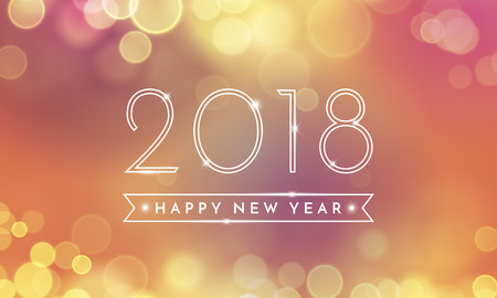 Illustration for 2018 Happy New Year Background texture with glitter fireworks. Vector gold glittering text and numbers for holiday greeting premium black card, festive invitation, calendar poster or promo banner. - Royalty Free Image