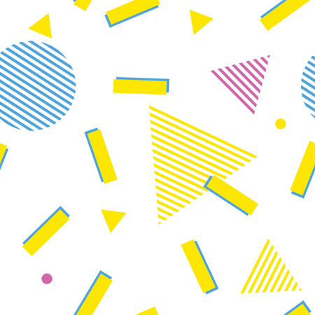 Illustration pour Abstract memphis style pattern. White seamless geometric 80s background with yellow, blue and pink triangle, circle and lines pattern. Modern backdrop - image libre de droit