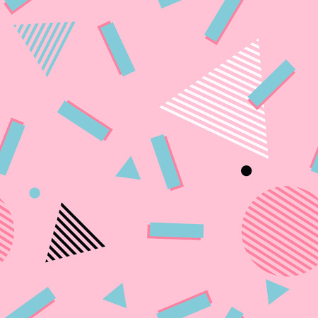 Illustration pour Pink abstract memphis style pattern. Geometric 80s style background with green rectangles, circles and triangle with striped pattern texture - image libre de droit