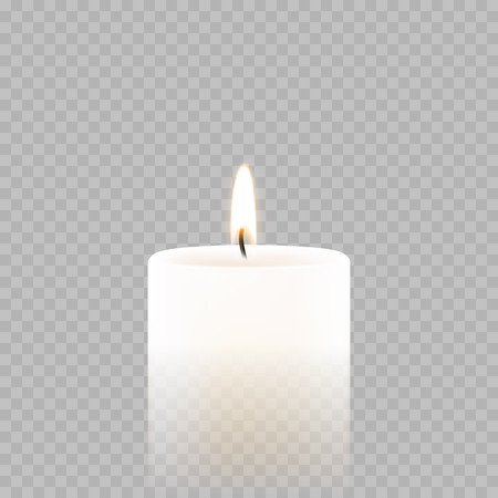 Illustration for Candle light or tea light flame isolated 3D icon on transparent background. Vector burning candle for Diwali festival, birthday or Christmas and New Year greeting card design or wedding decoration - Royalty Free Image
