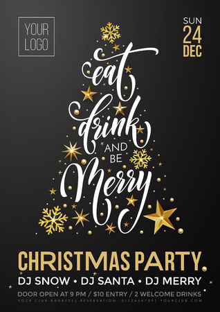 Ilustración de Christmas party invitation poster template of golden New Year decoration, Christmas tree of gold glitter star and snowflakes on premium black background. Vector calligraphy text for winter holiday - Imagen libre de derechos