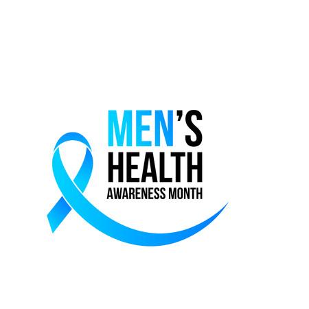 Ilustración de November men health awareness month poster or banner of blue ribbon. Vector no shave symbol for social solidarity event against prostate cancer campaign - Imagen libre de derechos