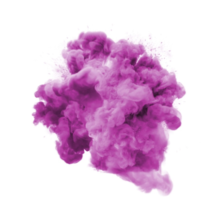 Foto de Paint powder explosion or abstract color splash of pink purple particles burst isolated on white background. Abstract color glitter explode with glowing shimmer texture effect for cosmetic background - Imagen libre de derechos