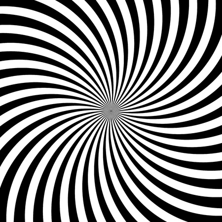 Illustration pour Hypnotic swirl lines or vortex spin or black and white circular motion twirls. Vector optical illusion pattern background of spiral rotating psychedelic hypnosis lines in hypnotic motion - image libre de droit