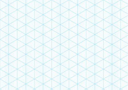 Illustration pour Isometric graph paper background with plotting triangular and hexagonal ruler guide line grid texture for engineering or mechanical layout drawing. Vector A4 graph paper template background - image libre de droit