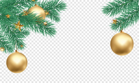 Ilustración de Christmas holiday greeting card background template of golden ball decorations on Christmas tree branches. Vector New Year gold glitter stars confetti on transparent luxury white background - Imagen libre de derechos