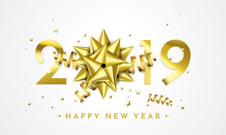 Ilustración de 2019 Happy New Year greeting card of golden gift bow decoration. Vector sparkling glitter stars confetti for Christmas holiday celebration on black premium background - Imagen libre de derechos