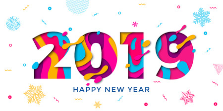 Ilustración de Happy New Year 2019 greeting card with paper cut snowflakes. Vector confetti decoration pattern of color multilayer numbers for Christmas holiday celebration background - Imagen libre de derechos