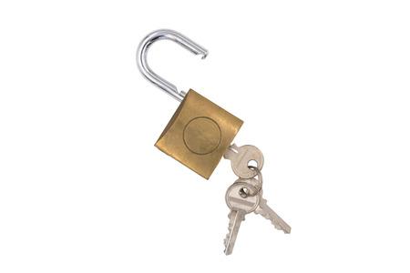 Foto de Padlock with key on white background. - Imagen libre de derechos