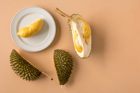 Photo pour King of Fruits, Durian on brown background. Copy space - image libre de droit