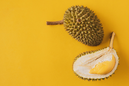 Photo for King of Fruits, Durian on yellow background - Royalty Free Image