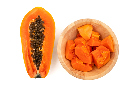 Photo for Slices of sweet papaya on white background - Royalty Free Image