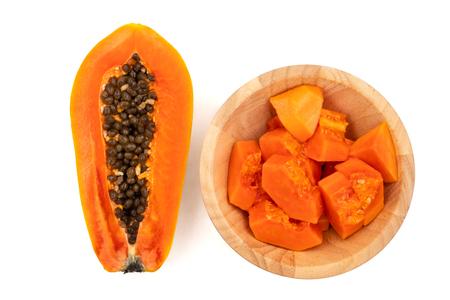 Photo pour Slices of sweet papaya on white background - image libre de droit