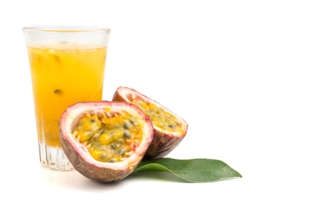 Photo for Fresh passion fruit and juice on white background. copy space - Royalty Free Image