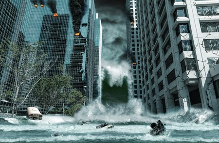 Foto de A cinematic portrayal of a city destroyed by Tsunami waves. Elements in this cityscape were carefully created, modified and manipulated to resemble a fictitious disaster scene. - Imagen libre de derechos