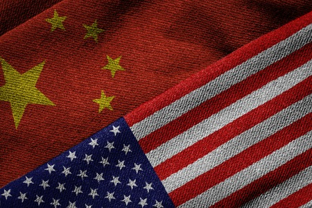 Photo for 3D rendering of the flags of China and USA on woven fabric texture. Concept of political, economic; cultural or social program partnership and cooperation between the two nations. Detailed textile pattern and grunge theme. - Royalty Free Image